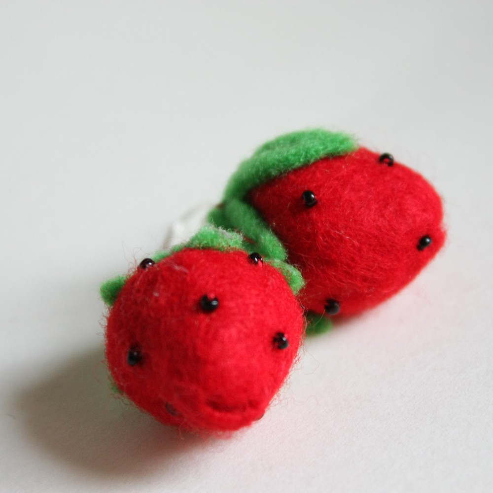strawberries earrings - spring fruit red and green pretty lovely cute