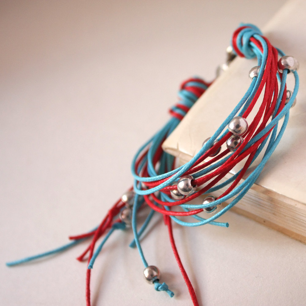 waxed cotton - red turquoise silver bracelet - other custom colors men and unisex