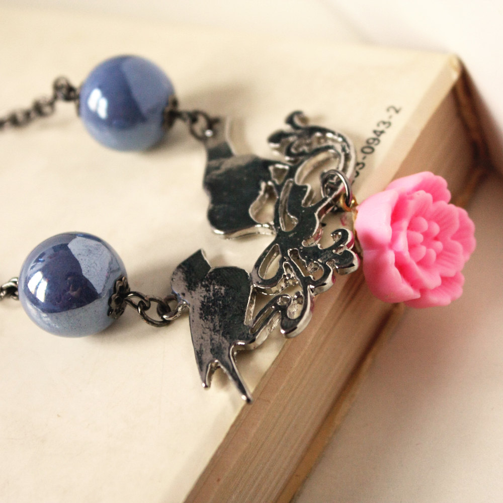 spring birds - necklace - pink flower sky blue ceramic beads silver pendant black chain - lovely cute girly
