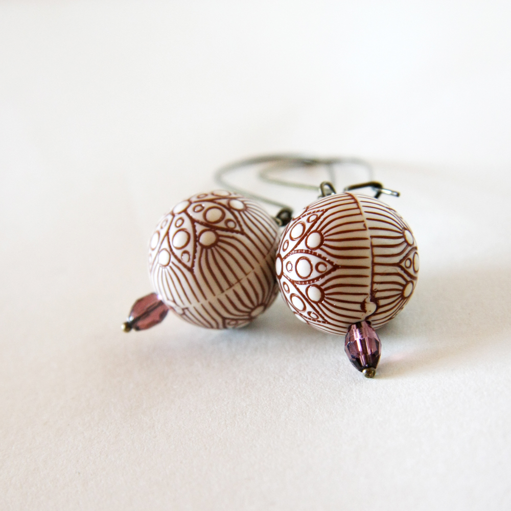 brown flowers earrings - wedding bridesmaid - cream brown purple antique bronze