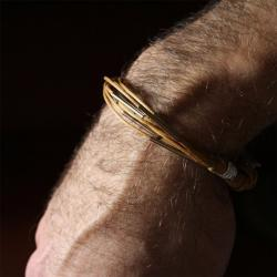 for him - metal and waxed cotton - men and unisex bracelet - ochre earth tone - other custom colors
