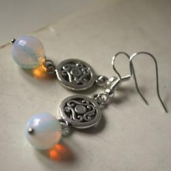 irish earrings - celtic silver metal and moonstone - white opal - pagan spiral triskel - saint patrick&#039;s day