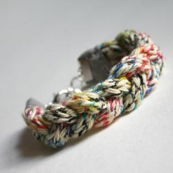 plait bracelet - ivory and multicolor knitted - boho casual yarn fiber soft