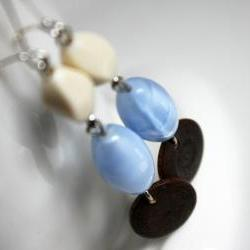 earrings blue ivory brown - ice colors - buttercream chocolate and azure