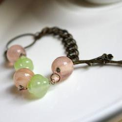 blossom - bracelet - pink and green pastel flowers