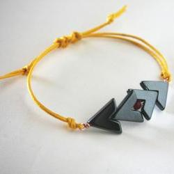 for him - tribal bracelet hematine stone and yellow waxed cotton - men and unisex bracelet