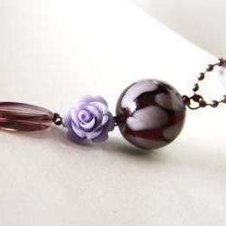 lilac and purple pendant with ball chain necklace - flower round glass beads romantic